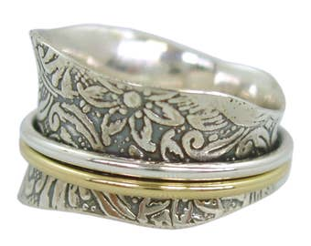 The TAPER Silver Meditation Spinner Ring with 1 Brass  1 Silver Spinners on Etched Floral & Leaf Pattern by Energy Stone (Style# US21)