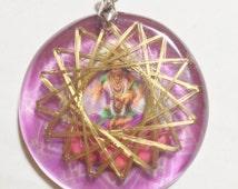 Lakshmi Beauty,Whealth, Prosperity Inducer 21 Golden Vortex Metayantra Pranic Device Quartz Metal Energy Pendant Orgone Generator