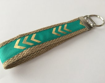 Keychain / Teal and Tan Wristlet Gold Chevron Print / CHARITY