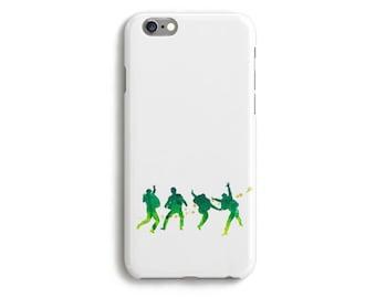 Case Beatles Phone iPhone 6 Tough 6s Plus 5 5s 5c SE Samsung Galaxy S6 Watercolor Silhouette Lennon McCartney Starr Harrison Music Green