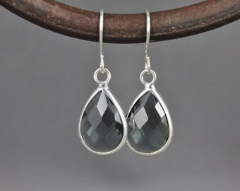 Silver Grey Gray glass earrings faceted teardrop pendant dangle lightweight small dainty wedding bridesmaid gift