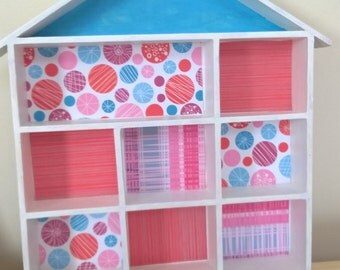 House shaped Display shelves with retro paper inserts