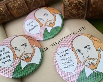 Shakespeare Pop Art Quote Badge  Magnet or Mirror