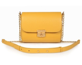 Leather Crossbody Bag, Yellow Leather Shoulder Bag, Women's Leather Cross body Bag, Leather bag KF-769
