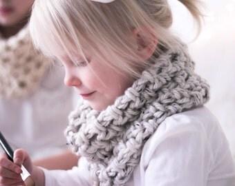 White Tweed KIDS Chunky Cowl Scarf, cozy soft neckwarmer, modern kids fashion scarf