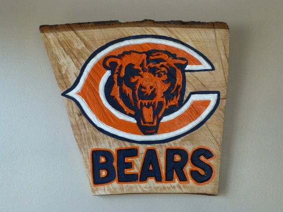 Chicago Bears Man Cave Signs : Chicago bears sign made from a wood log by craftyfamilyoffive