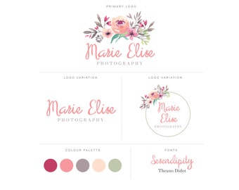 Branding Package - Photography Logo and Watermark - Watercolor Floral - Script - Logo Design - Watermark - Premade Marketing Kit - BPL10