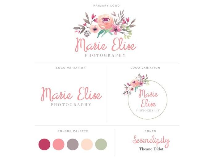 Branding Package - Photography Logo and Watermark - Watercolor Floral - Script - Logo Design - Watermark - Premade Marketing Kit - BPL10