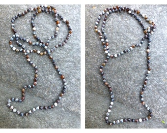 60 Inch Bead Necklace- Hand Knotted Faceted Mixed Gray Brown Agate- Long Beaded Necklace