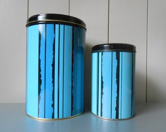 Set of two Vintage TOMADO tin metal containers. Canister Jar. Blue Black Stripes. Made in Holland. Dutch design. Retro 1960s 1970s. Kitchen