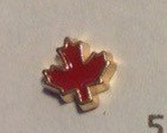 Gold or silver red maple leaf Floating charm