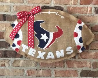 Texans Burlap Football