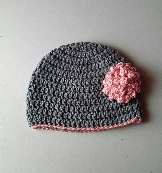 Crochet hat with flower , baby photo prop , baby shower gift