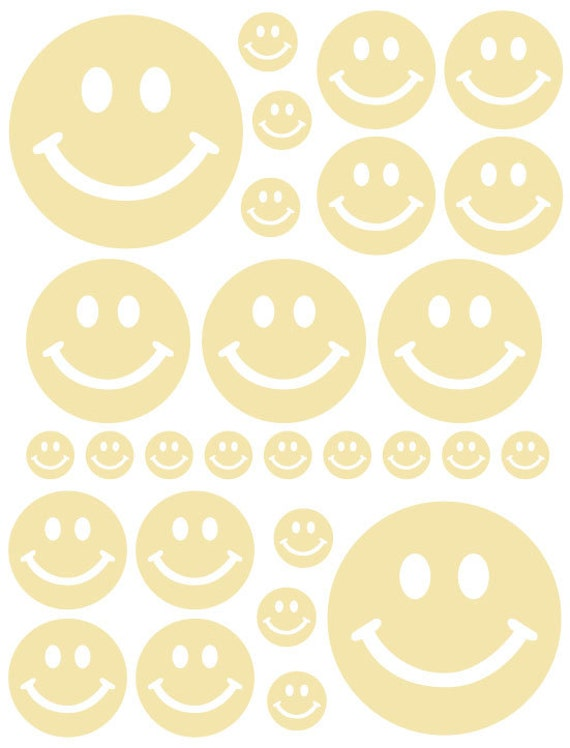 56 Pale Yellow Cream Smiley Face Vinyl Polka Dots Bedroom Wall Decals Stickers Teen Nursery Dorm Room Removable Custom Made Easy to Install