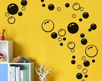 set of 50 bubbles large wall decal bathroom decal shower decal bubble