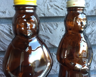 FREE USA Shipping Set of Vintage Brown Glass Mrs. Buttersworth Syrup Bottles Aunt Jemima