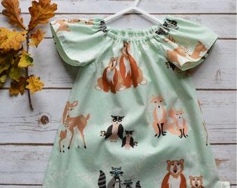chloe   Girls   Dress   Art Gallery   Handmade   Bears   Fox    Infant   Gift   Baby Dress   Toddler Dress   Peasant Dress   Made to order
