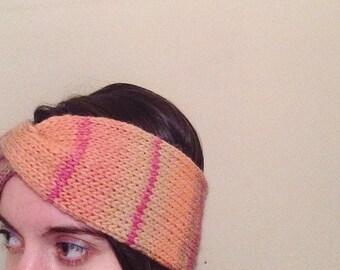 Handmade pure wool headband, striped green, pink, orange knit turban, thick, warm wool twist gradient ear warmer