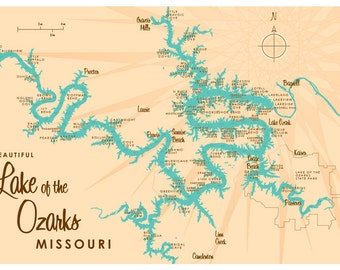 Lake of the Ozarks, MO Map Print *with mile markers*