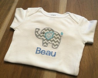 Baby Elephant Chevron Onesie : personalized, embroidered, appliqued, name bodysuit
