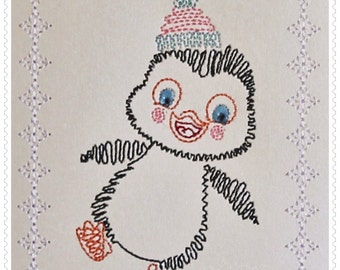 ITH Card Stock Penguin Machine Embroidery Design Pattern for 5x7 hoops by Titania Creations. Includes Bonus 4x4 Design. Instant Download