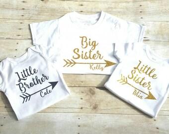 Set of three personalized sibling shirts, big brother, little brother, big sister, little sister shirts, sibling shirt, custom onesie