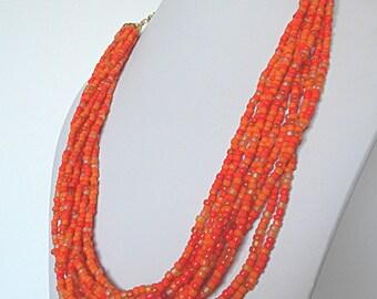 Orange Necklace, Orange Multi Strand Seed Bead Necklace, Tangerine Orange Statement Necklace, Orange Beaded Necklace, Orange Layered Jewelry