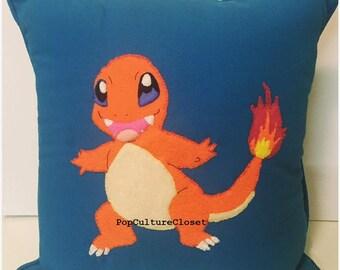 Cute Charmander Pokemon Cushion / Pillow - Handsewn Felt