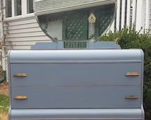 SOLD Hand Painted Antique Art Deco Waterfall Dresser with Mirror - local pickup / delivery only