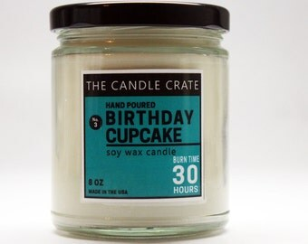 Birthday Cupcake 8 Ounce Soy Wax Scented Candle Hand Poured Highly Scented and Eco Friendly