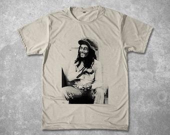 Bob Marley Rasta Reggae Tshirt Portrait Halftone hand screen printed T-shirt