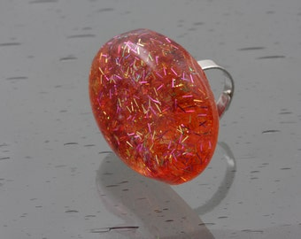 Fiery Orange Statement Ring with Shimmering Accents