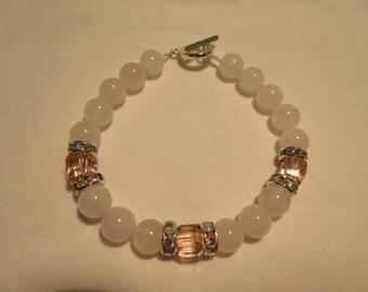 Rose Quartz and Pink Cube Glass Beaded Bracelet