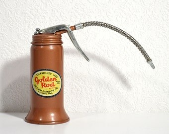 Vintage Oil Can- Golden Rod Oil Pumper with Flexible Nozzle and Original Sticker, Vintage Mechanic Tools