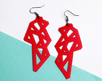POLYGON - Contemporary eco-leather earrings || 100% Handmade || Made in italy