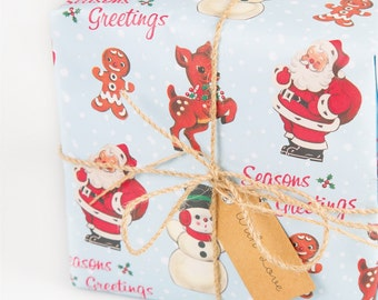 2 Sheets of Luxury Retro Christmas Santa Gingerbread Wrapping Paper