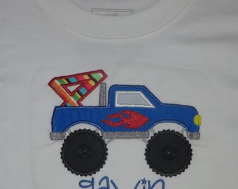 Monster Truck Grave Digger Flames Personalized Birthday Shirt