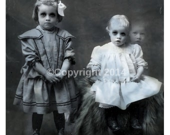 Ghost Children Photo Victorian Vintage Altered Art Halloween Creepy Cabniet Card Girl Children Instant Download Ephemera Scrapbook Card