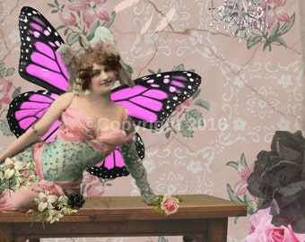 Fairy Victorian Ephemera Butterfly Flowers Vintage Original  Printable Digital Collage Print Altered Art Scrapbook Page Instant Download