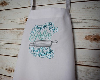 personalized apron, bakers apron, custom apron, embroidered apron, they see me rollin apron, apron for women