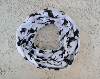 Black and white deer infinity scarf