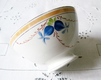 French Antique Bowl White Ironstone Cafe au Lait Bowl, Footed with Gilded Rim and Blue Flower Garland
