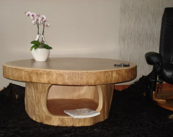 Coffee table wood tree trunk table