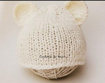Knit Teddy Bear Hat, Newborn Cream Soft Cotton Teddy Bear Beanie, Baby Beanie, Newborn Photo Prop, Gift for Newborn.
