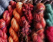 Yarn pack for knitting, crochet, weaving or felting. Wool, mohair, viscose ribbon, merino roving - Fall Mix.
