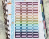 Glitter Mini Boxes Stickers! 1 punched sheet, for your Erin Condren Life Planner, Plum Planner,  Filoflax, calendar