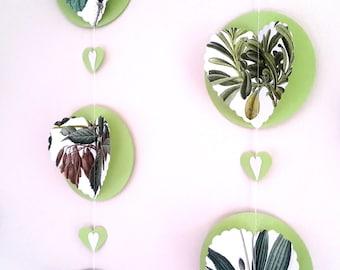 Botanical Garland 5+ Ft.- Paper Heart Bunting - 3D Botanical Photo Backdrop - Green Floral Bunting - Foilage Banner- Tea Party Decoration