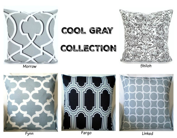 Cool gray decorative throw pillow covers by for Cool couch pillows