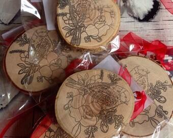 Bird Stamp Wooden Bird Log slice Ornament Wood Slice Wood Art Bird Art Life Quotes Handcrafted Wood Art