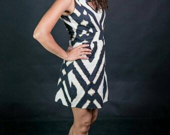 Black white and gold mini dress with open back/tribal print short dress